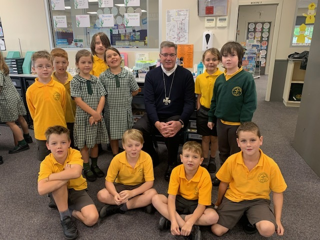 Bishop with Gr 2 students 2021